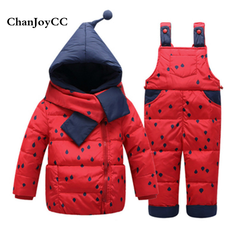 Winter Baby Girls Down Jacket Set Kids Thickening Warm Hooded 90% White Duck Down Outerwear+Pant Two-piece Children Clothing Set children s winter warm down jacket suit hooded 2 piece set girls clothing brand 1 3y baby boy fashion white duck down jacket set