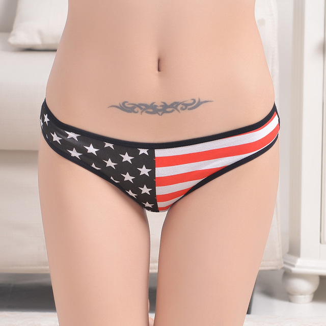 1aa4fcdecf589 Underwear Women Sexy Panties 2017 Thongs and G String national flag Female  Seamless cotton Lingerie star Striped print Thongs