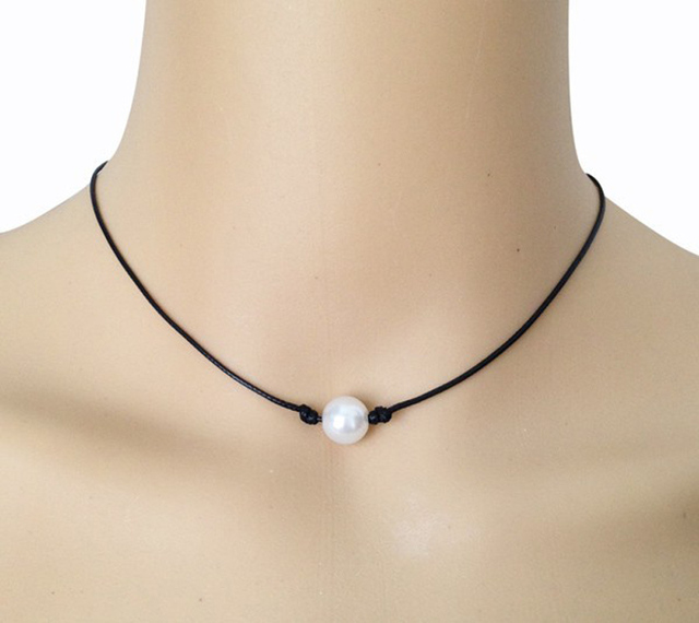 475c7a91e9bd0 Black Leather Pearl Necklace Floating Cultured Freshwater Pearl Choker  Single Real Pearl Collar Necklace Handmade Pearl Jewelry