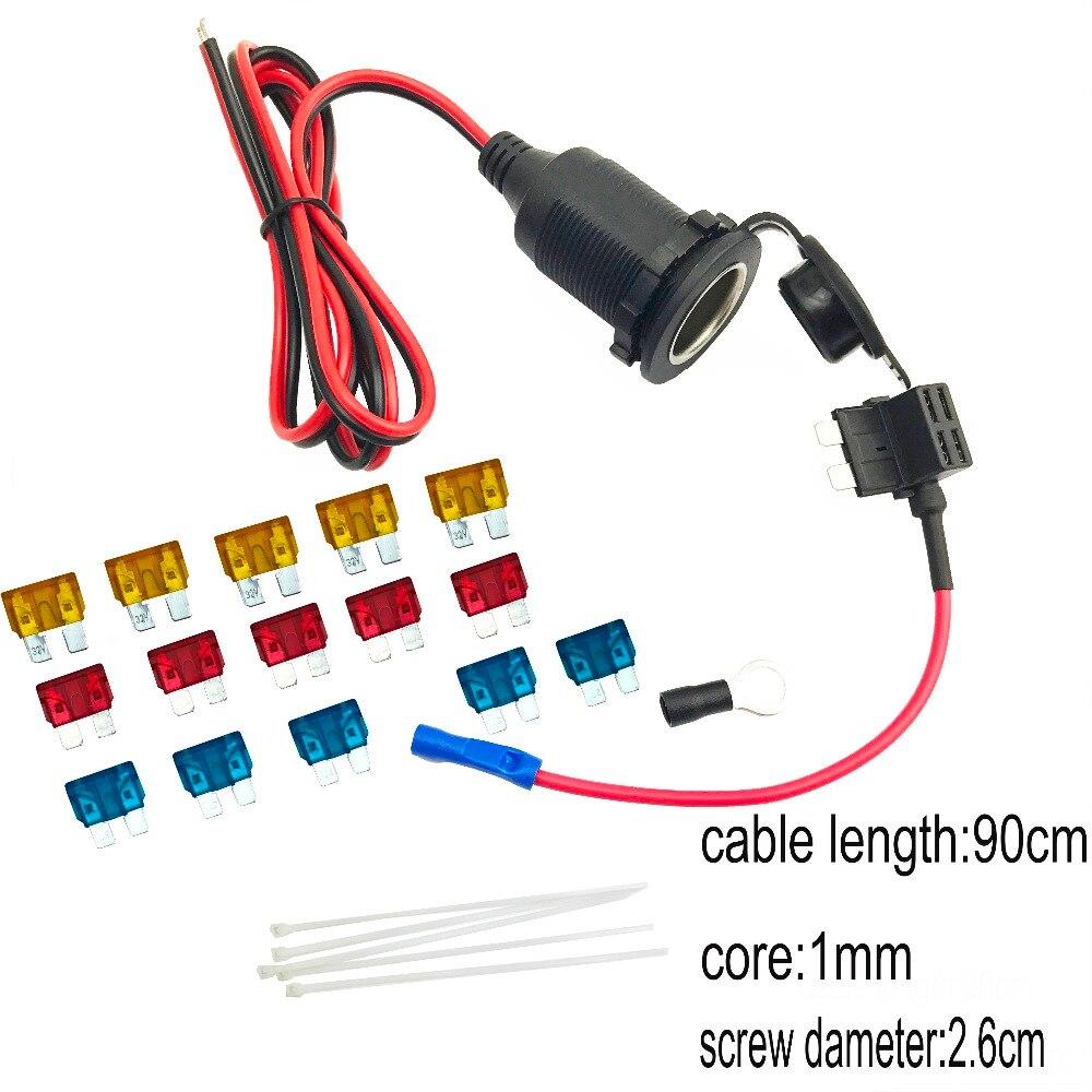 Divisor de enchufe del encendedor del coche 12 V/24 V extensión estándar del fusible del sostenedor del grifo de plomo cubierta impermeable 90 cm cable con fusible