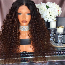 Two Tone Ombre Blonde Human Hair Kinky Curly Full Lace Wigs Brazilian Virgin Hair Density 180% Ombre Glueless Lace Front Wig