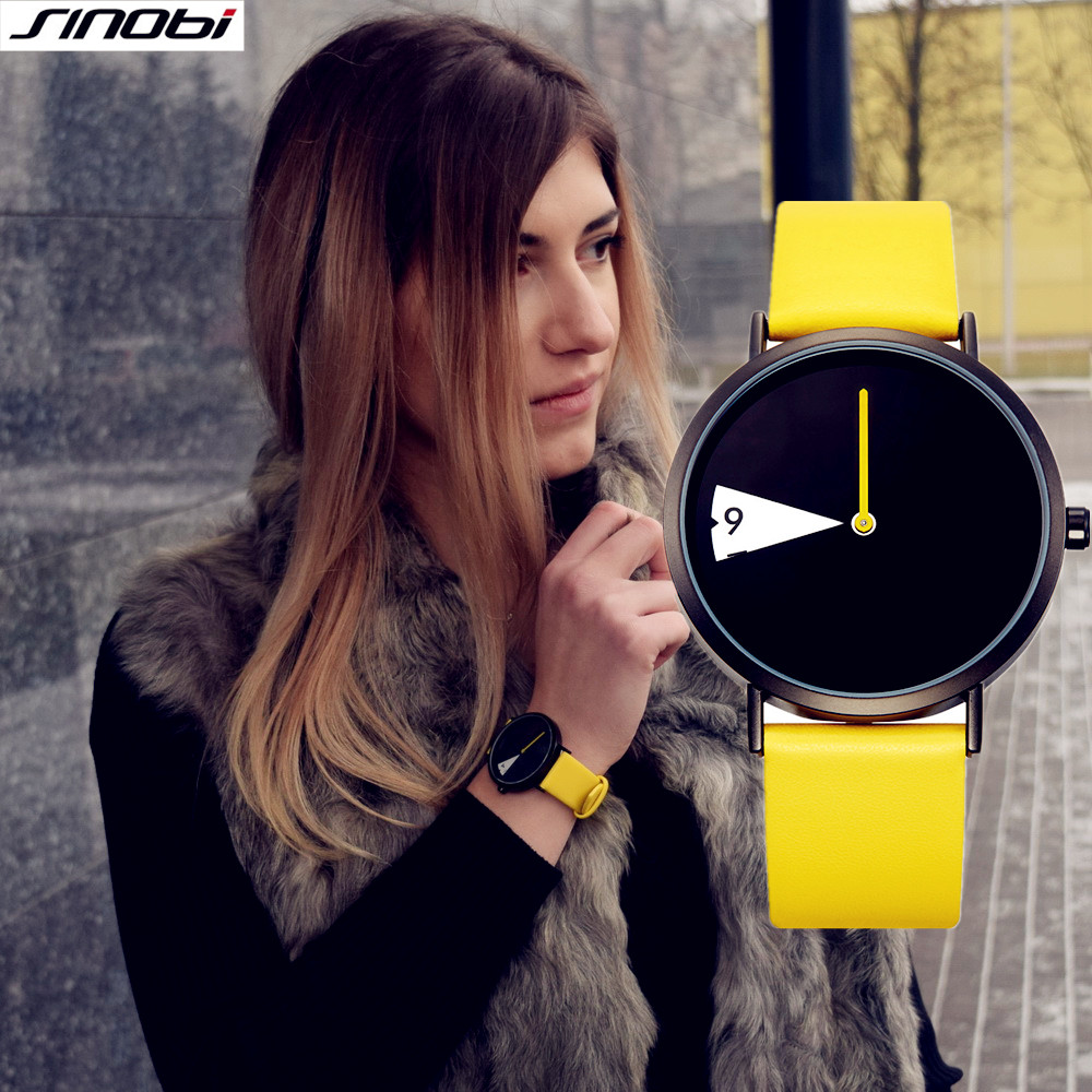 SINOBI Brand Quartz Wrsit Watches Women Clock Fashion creativity Leather Casual Fashion Watch Ladies Big Promotion Relojes sk19