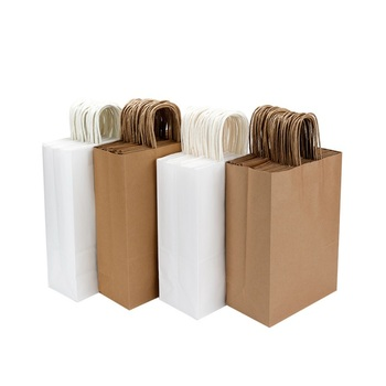 High Quality Kraft Paper Gift Bag with Handles Packaging Bags for Wedding Birthday Party Favors Shopping Bags W9232