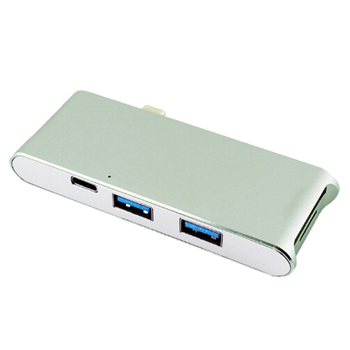 1x YC-204 Aluminum alloy type-c hub splitter PD charge typeC card reader hdmi 4k converter, Space gray