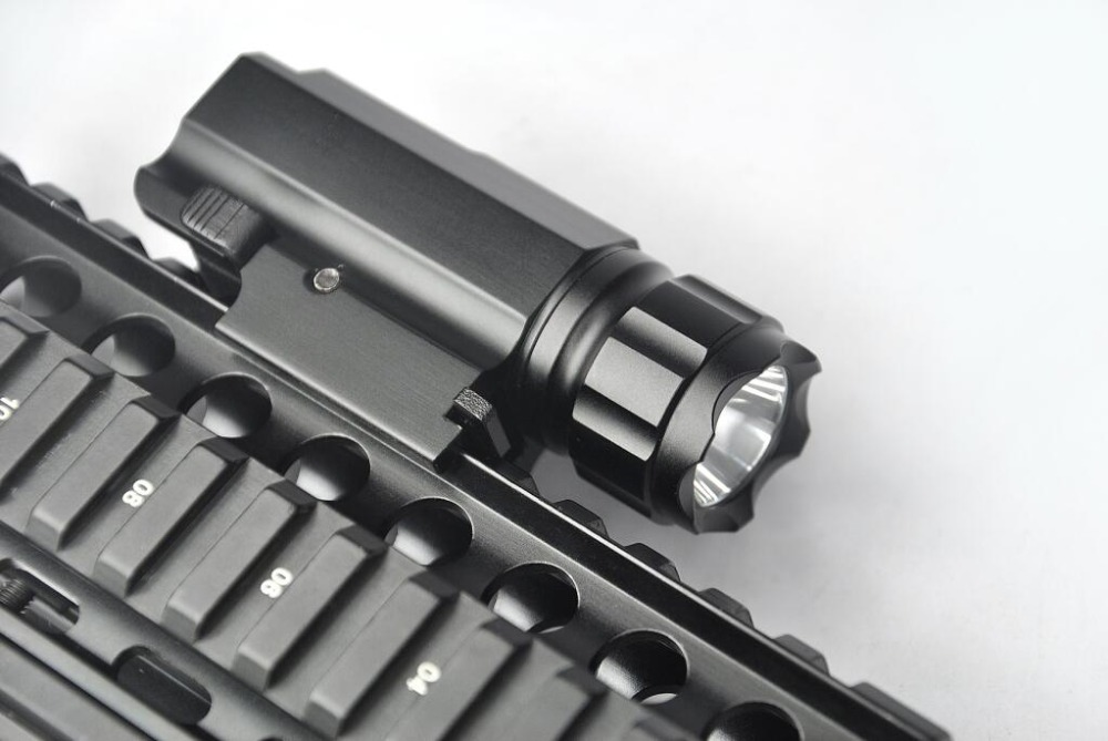 200 Lumens CREE LED Tactical Gun Flashlight Torch Pistol Handgun Weapon Torch Light Lamp with Mount for Hiking Camping Hunting