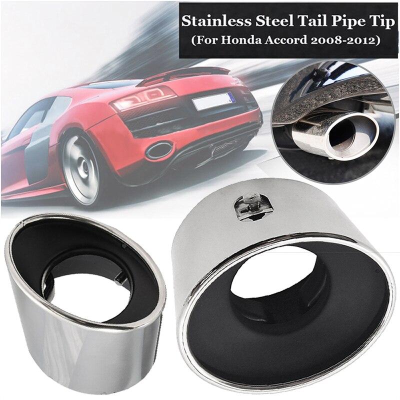 1Pcs Stainless steel Chrome Exhaust Muffler Tip Pipe For 2008-2012 Honda Accord