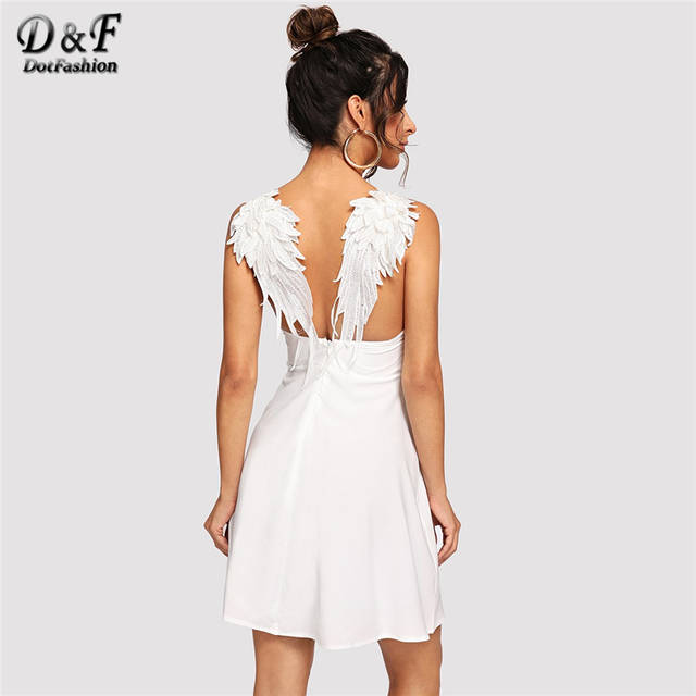 e8b46f34bab3c US $12.99 40% OFF Dotfashion Contrast Wing Back Cami Sexy Dresses Party  Night Club 2019 Women Clothes Summer Night Out Sleeveless Plain Dress-in ...