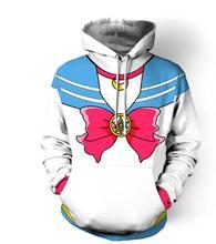 Autumn Winter Women Sailor Moon 3D Print Hoodies Long Sleeves Sweatshirt