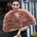 Moda noiva outono inverno da capa de pele real elegante para mulheres grande xale de pele outerwear 12 cores