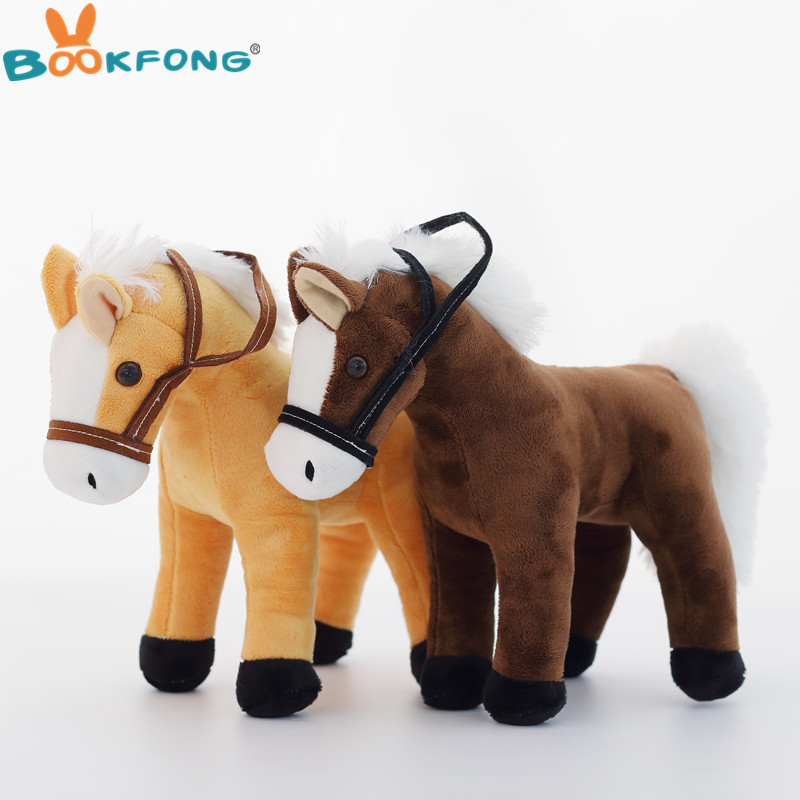 BOOKFONG 1PC 35CM Simulation Horse Plush Toy Stuffed Animal Horse Doll Prop Toys Great Gift for Children stuffed animal 110cm plush tiger toy about 43 inch simulation tiger doll great gift free shipping w018