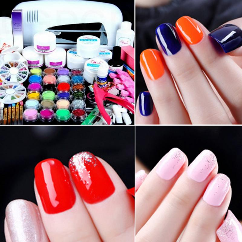 31 in 1 Set Acrylic Liquid Nail Art Tool with 9W UV Gel Curing Dryer Lamp Brush Glue Glitter Powder Buffer Tool Set Kit Tips UV att 138 pro nail polish eu us plug 9w uv lamp gel cure glue dryer 54 powder brush set kit at free shipping