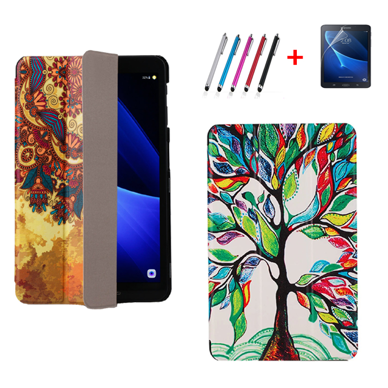 For Samsung Galaxy Tab A 10.1 T585 T580 Tablet funda cases Color Painted PU Leather TAB A6 10.1 inch Magnetic Smart Sleep Cover magnetic wood pattern stand smart pu leather cover for samsung galaxy tab a a6 t580 t585 10 1 tablet funda case free film pen