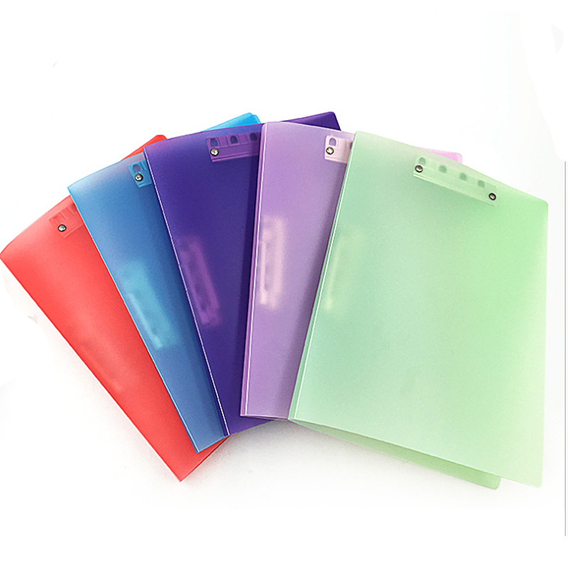 Coloffice A4 Color Plastic Strong Clip Transparent PP Color Folder Double Clip Office Document Storage Student Paper Folder 1PC