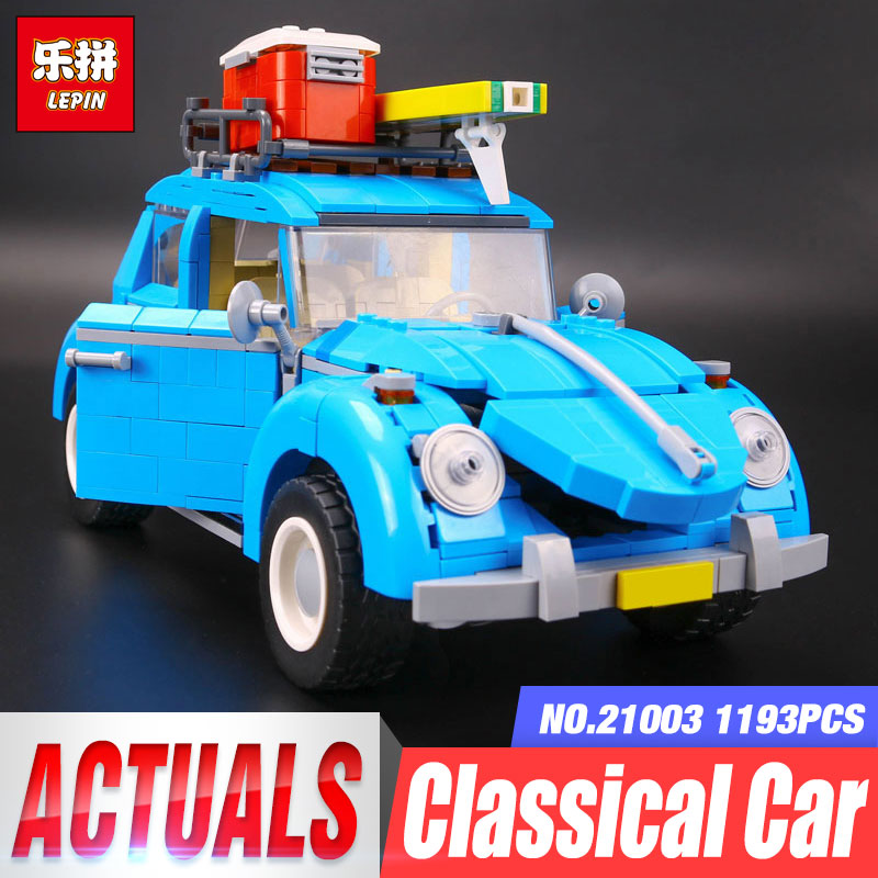 New LEPIN 21003 Series City Car Beetle model Building Blocks Compatible 10252 Blue Technic Car Children DIY Boy gift lepin 02012 city deepwater exploration vessel 60095 building blocks policeman toys children compatible with lego gift kid sets