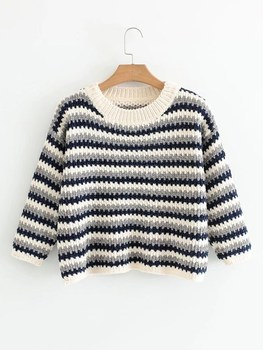 New Autumn Winter Chenille Drop Shoulder Sweater Fashion O-neck Long Sleeve Knitwear Casual Striped Sweater