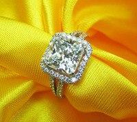 Принцесса Cut обручальные кольца для женщин большое серебро женские кольца, свадебные украшения