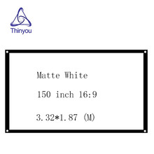 150 inch 16:9  Wall Mounted Matt White Projector Movie Screen For Supplies Portable Curtain without Frame