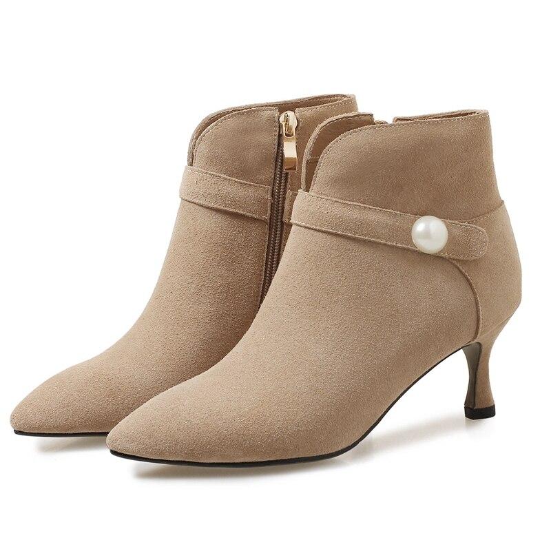 Zapatos 40 grey Botas 34 Mujeres Tacón Alto Enmayla Para Del Tobillo La Puntiagudo Beige Tamaño Pie black De Dedo Cuadrado Ly102 Mujer WTY6qW1