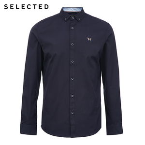 Image 5 - SELECTED Mens Regular Slim Fit Business Casual Embroidered Long sleeved Shirt S