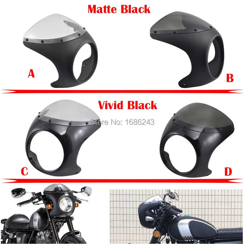 Motorcycle 7 Cafe Racer Headlight Fairing Screen Windshield Cover ABS Fits For Royal enfield Triumph Harley