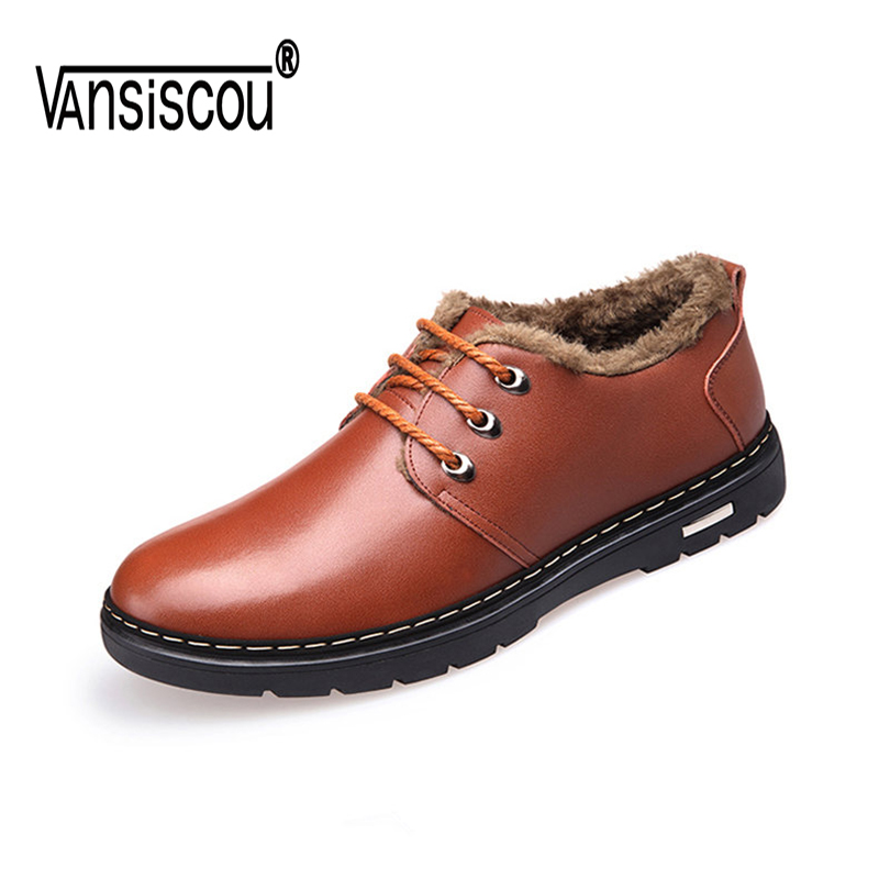 VANSISCOU Winter Men Genuine Leather Shoes Fashion Casual Plush Warm Boots Lace Up Flats Male Snow Boots Fur Inside Comfortable muhuisen brand winter men genuine leather shoes fashion warm working plush ankle boots casual lace up flats male snow boots