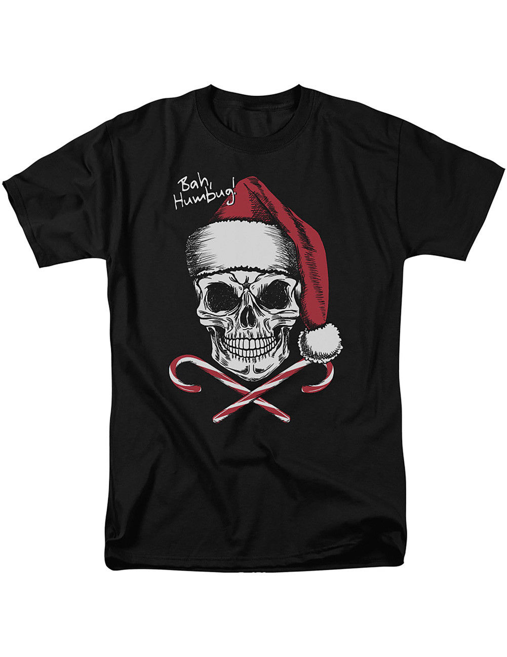 NEW NWT Skull Face w/ Santa Hat Candy Canes T-Shirt - Bah Humbug Types