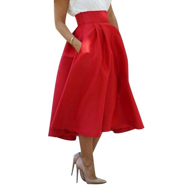 2015 Outono Verão Mulheres Vermelhas Saias Elegante Moda Plus Size Sólida Plissada Mid-Calf Saia para o Office ou Ocasional ocasião