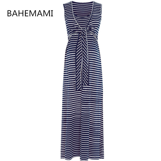f9bd998f28 BAHEMAMI Sleeveless lacing Clothes Breastfeeding Nursing Pregnant Women  Striped Maxi Dress Maternity In Bohemian Beach Dress