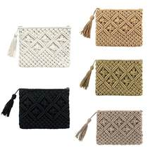 New Fashion Lady Women Summer Lovely Retro Straw Knitted Handbag For Key Money Beach Bag Coin Purse Card Clutch bag(China)