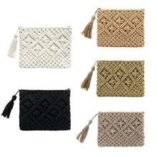 New Fashion Lady Women Summer Lovely Retro Straw Knitted Handbag For Key Money Beach Bag Coin Purse Card Clutch bag