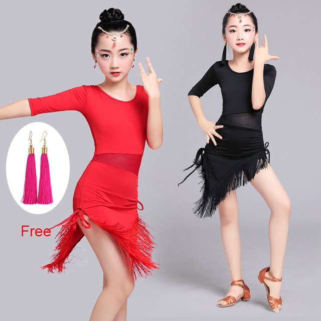 Новый красные, черные Половина рукава Костюмы для латиноамериканских танцев платье для танцев Детская Обувь для девочек Salsa/Танго Fringe танцевальные костюмы сетки талии платье для сцены пикантные