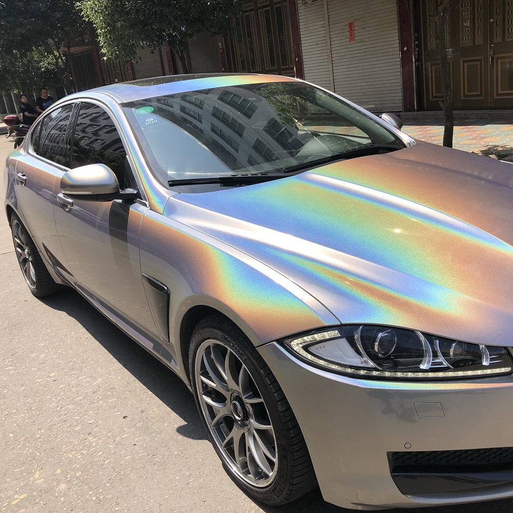2pcs Rainbow Laser Glossy Car Body Protective Film PVC Sticker Gradient Color Change Vinyl Wrap for Car Motorcycle Bike Styling film for change