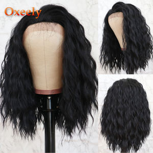 Oxeely krótki Bob kręcone syntetyczna koronka przodu peruki Glueless naturalna czarna peruka włókno termoodporne luźne kręcone Bob peruka dla kobiet