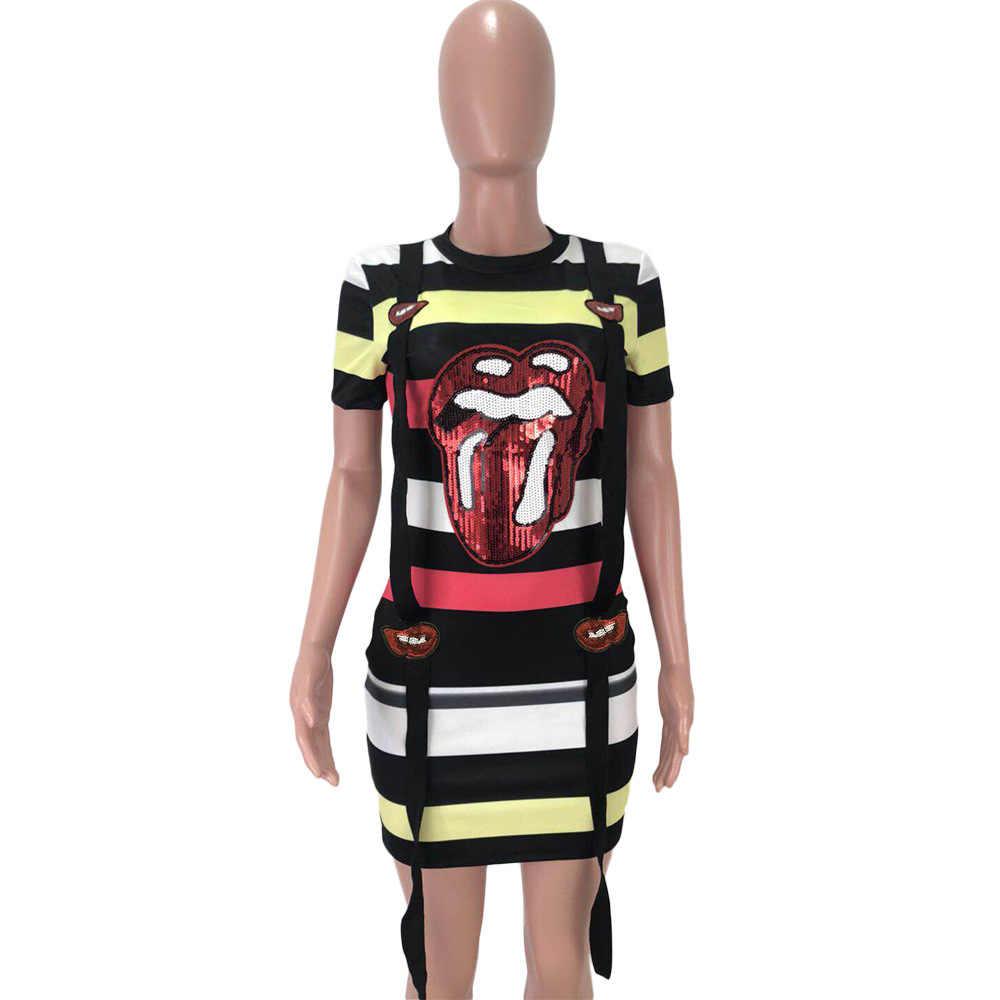 Đầm Đầm Plus Kích Thước Hoạt Hình Môi In Mini Ôm Body Thời Trang Vestidos Nữ Quần Áo Mùa Hè 2019 Bodycon Đầm Nữ