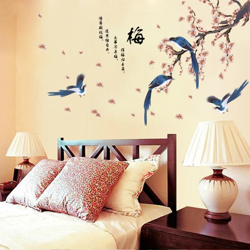 Nieuwe eksters pruim slaapkamer tv-muur in de woonkamer achtergrond behang stickers van het hoofd van een bed