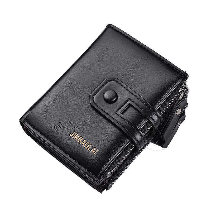 Men Wallets Famous Brand Wallet Zipper Hasp Black Brown Male Handmade Custom Dollar Price Coin Purse Short Wallet Card Holder