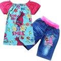 2017 Meninas de Verão T-shirt + Shorts Jeans Bebés Meninas Roupas Set Trolls Papoula Traje de Algodão Tees Crianças Tops Crianças Princesa