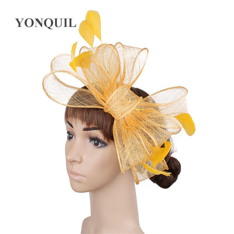 Винтажный белый головной убор Sinamay шляпа с причудливыми перьями Свадебные шапки Клубная кепка очень красивая 21 цвет можно выбрать SYF280 - Цвет: Цвет: желтый