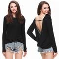Fashion Sexy Women Black Deep V Backless Long Sleeve Casual T-shirt Tops