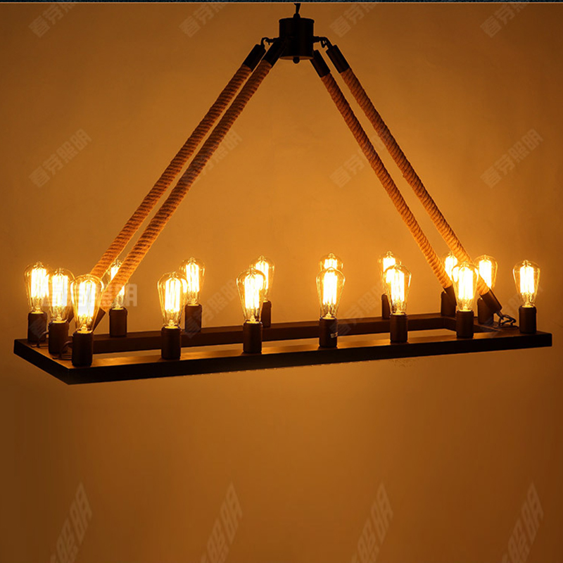 Loft Style Nordic Retro vintage Hemp rope square black / iron rust color Chandeliers E27 AC 110V 220V 16 lights Industrial lamp