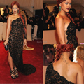 Sexy One Shoulder Cut Out See Through Black Lace Mermaid Long Evening Gown 2014 Beyonce Celebrity Dresses