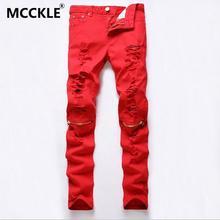 2016 New Fashion Men Ripped Designer Jeans Pants Slim Fit Knee Zipper Jeans Men Club Wear Bright Color Denim Jogger Q1159