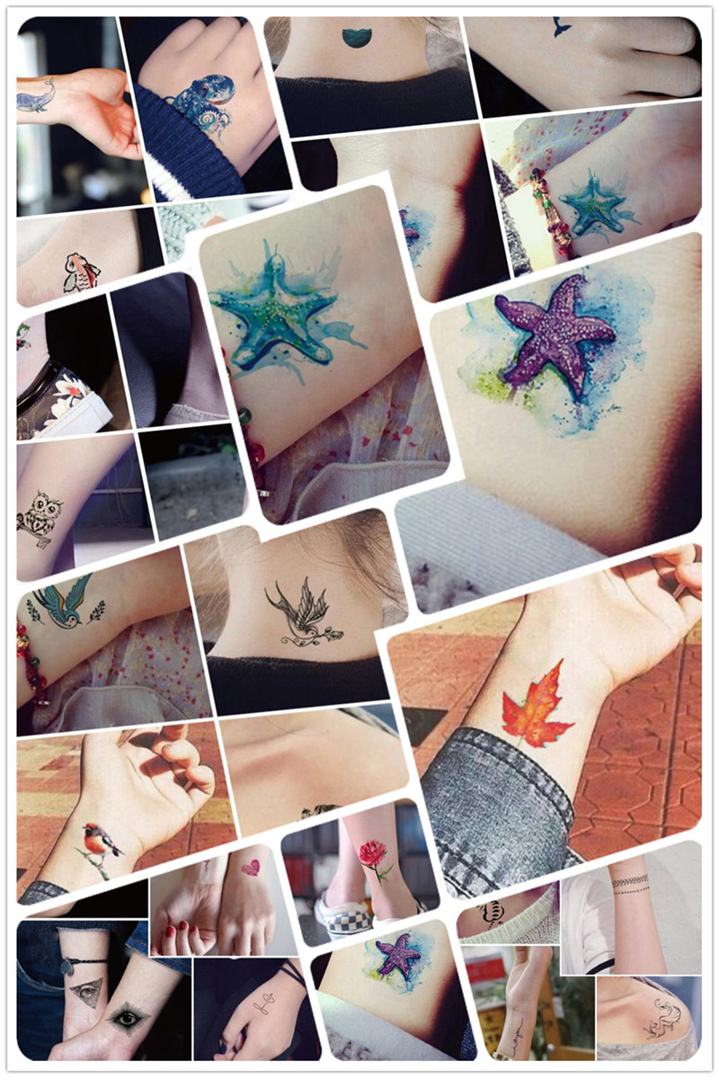 Waterproof Temporary Tattoos sticker Red Sexy cute Fox color fish bird cat Water Transfer fake flash tattoo for Adults kids 12