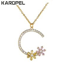 Mixed Color Letter Zircon Stone Choker Necklace For Women 2019 New Design Colorful Flowers Necklaces & Pendants Party Jewelry