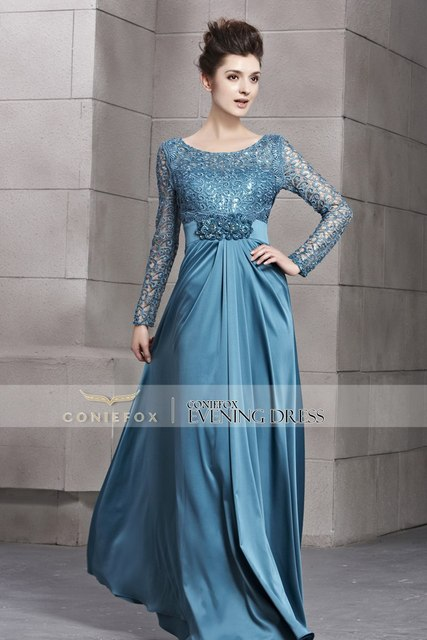 2013 A Line Lace Full Sleeve Floor Length High Class Formal Dress Party