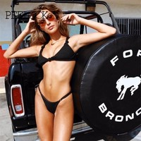 Pfflook Push Up Bikini Roupa De Praia Swimwear Women 2017 New Sexy Micro Strap Bandeau Bikini