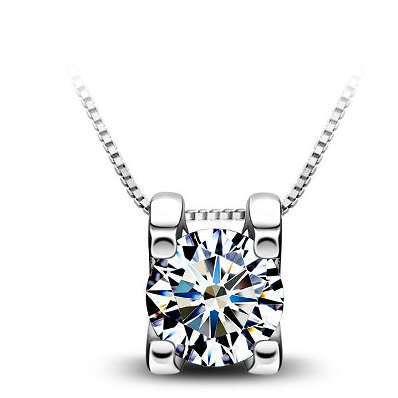 Korean Fashion Crystal Pendant Necklace For Women Necklaces & Pendants 925 Sterling Silver Jewelry Charms Jewellery Choker Gift