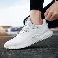 Alpha big size men's shoes 2019 spring new trend sports shoes flying woven running casual shoes men