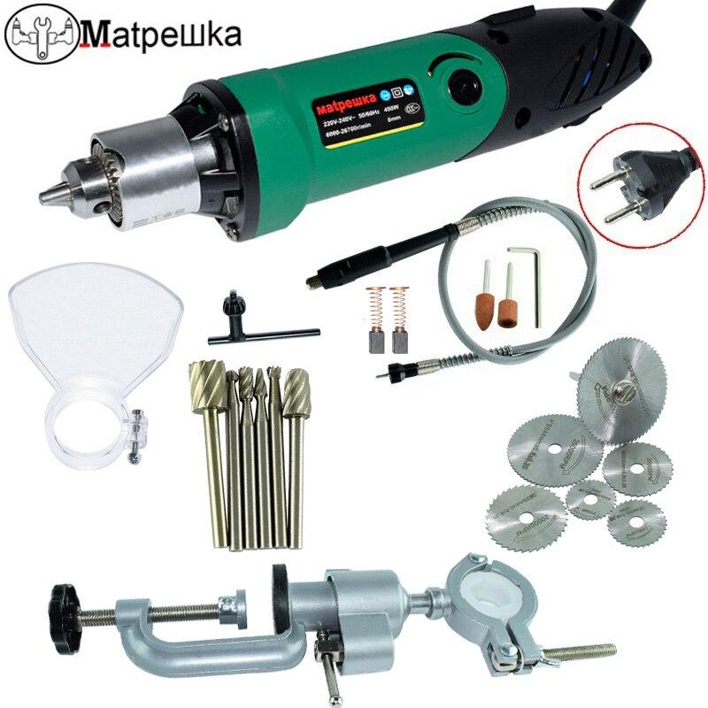 Dremel220V 480 W miniatura taladro eléctrico con 6-Posición velocidad estilo Rotary Tool Mini molienda herramienta + 6 fresa + soporte