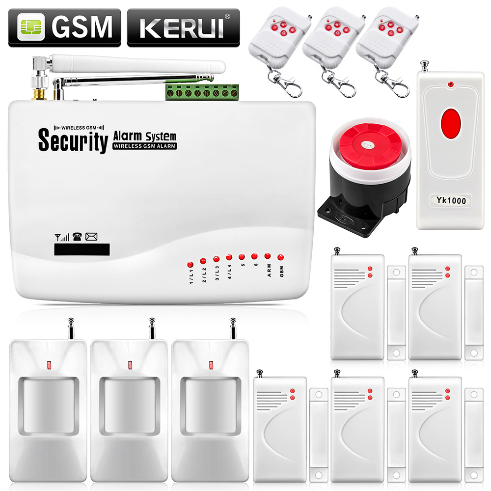 ФОТО Wireless Intelligent Burglar Alarm System Dual Antenna Home Security Tri-band GSM with Russia manual Panic Button no battery
